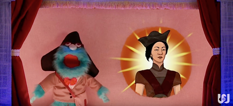 The Puppet History Professor introduces the episode's subject – Ching Shih, the greatest pirate ever.